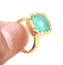 Peru Chalcedony 24 k Gold Plated Handmade Ring