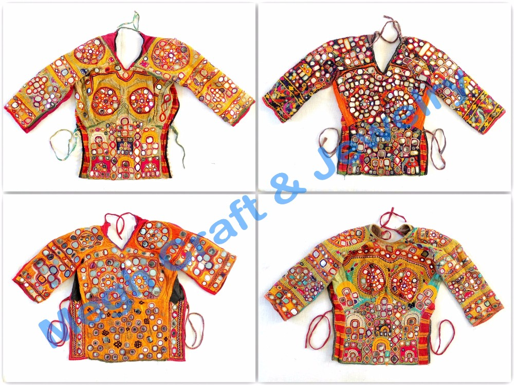 Indian Vintage Rabari Embroidery Blouse-Back Lace Mirror Work Blouse-Banjara Choli Top