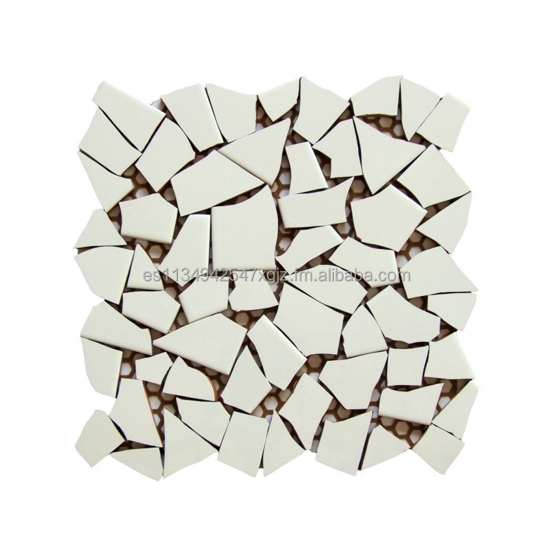 Irregular ceramic mosaic tile white color