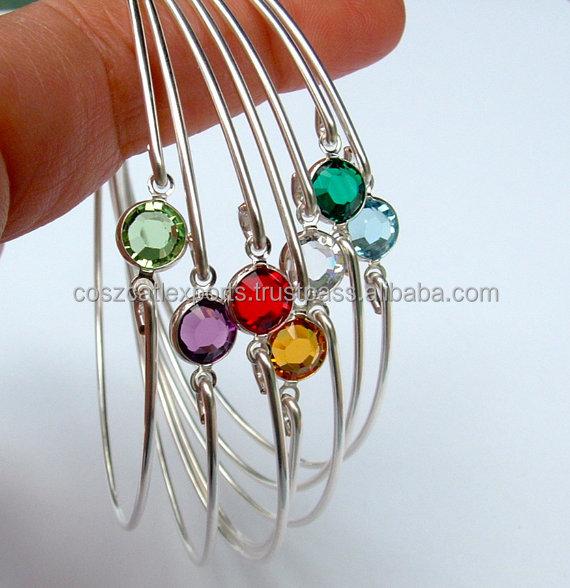 Gemstone Bracelet Choose Month Bracelet Birthstone Bangle Gemstone Jewelry Gemstone Gifts Birth Stone Jewelry Valentine Gi