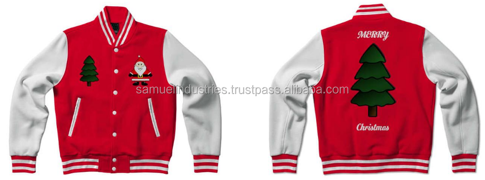 Design Your Own Custom Varsity Jackets With Fully Christmas Customization\Custom made Christmas red Wool & white Leather Jackets