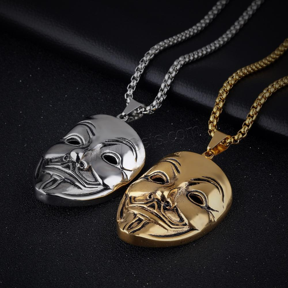 Men Necklace 316L Stainless Steel Mask plated plating box chain for man 1134384