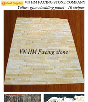 HOT SALE FOR VIET NAM YELLOW MARBLE 10 LINES STACKED CULTURED, LEDGE STONE VENEER.