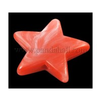 Imitation Gemstone Acrylic Beads, Star, Red, Size: about 21mm long, 22mm wide, 5mm thick, hole: 2mm PAB1169Y-5