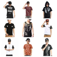 Faux Leather Patchwork Hip Hop Short Sleeve Men T Shirt , Mens Crew Neck PU Leather Splice Long Sleeve T-shirt