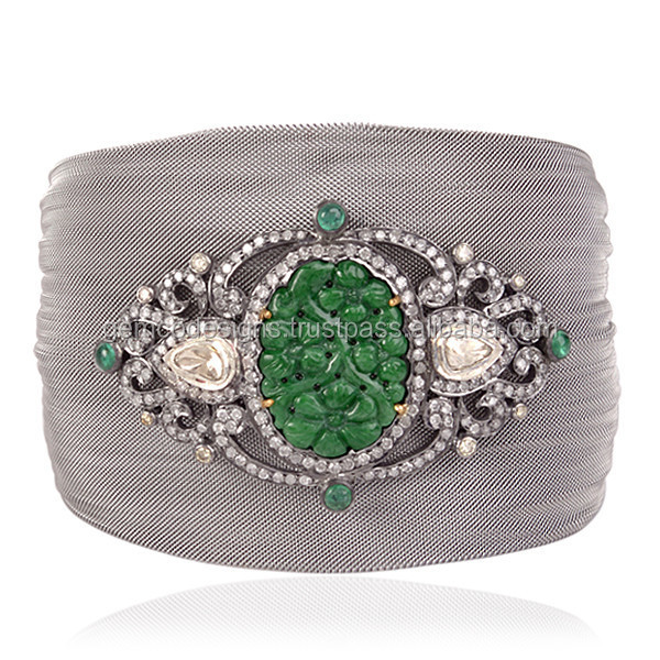 18k Gold 925 Sterling Silver Carved Jade Emerald Gemstone Pave Diamond Designer Steel Mass Fashion Cuff Bangle Gemco Jewelry