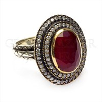 Antique 925 Sterling Classic Silver Ring with Red Gem