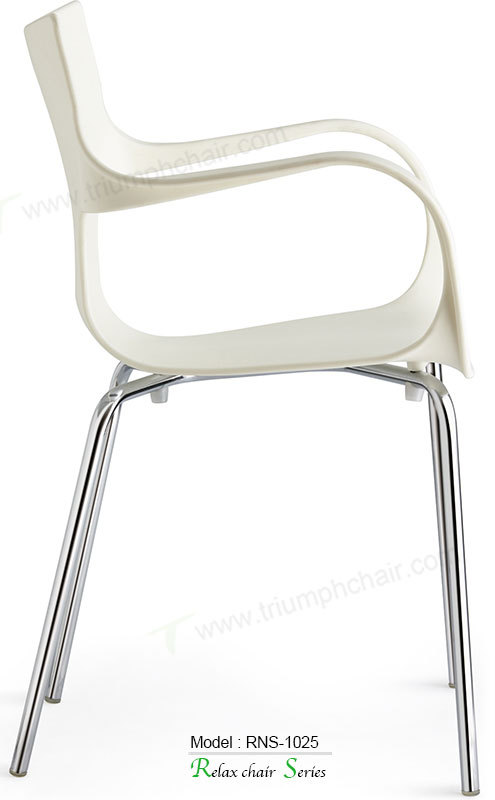 Triumph modern popular armrest dining chair / Contemporary stacking chair ABS Alloy legs