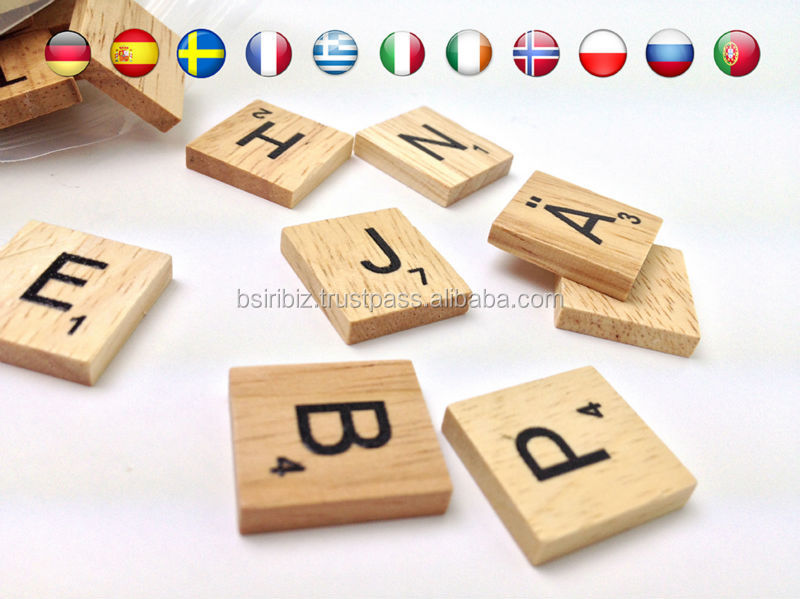 wooden scrabble pieces set scrap booking alphabet tiles