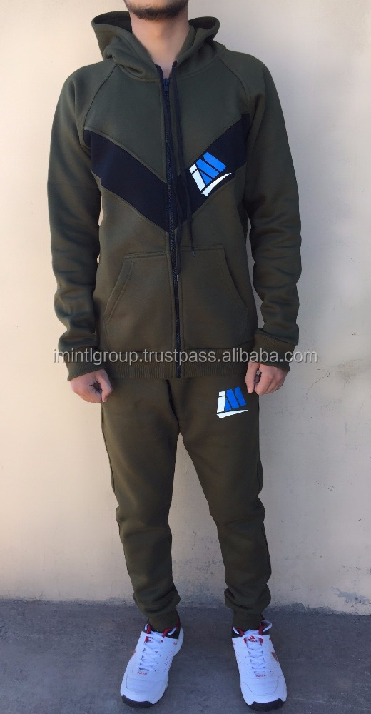 High impressive fashion Army Green with black color V panel fleece sweatsuit, gym / sports track suit 1734