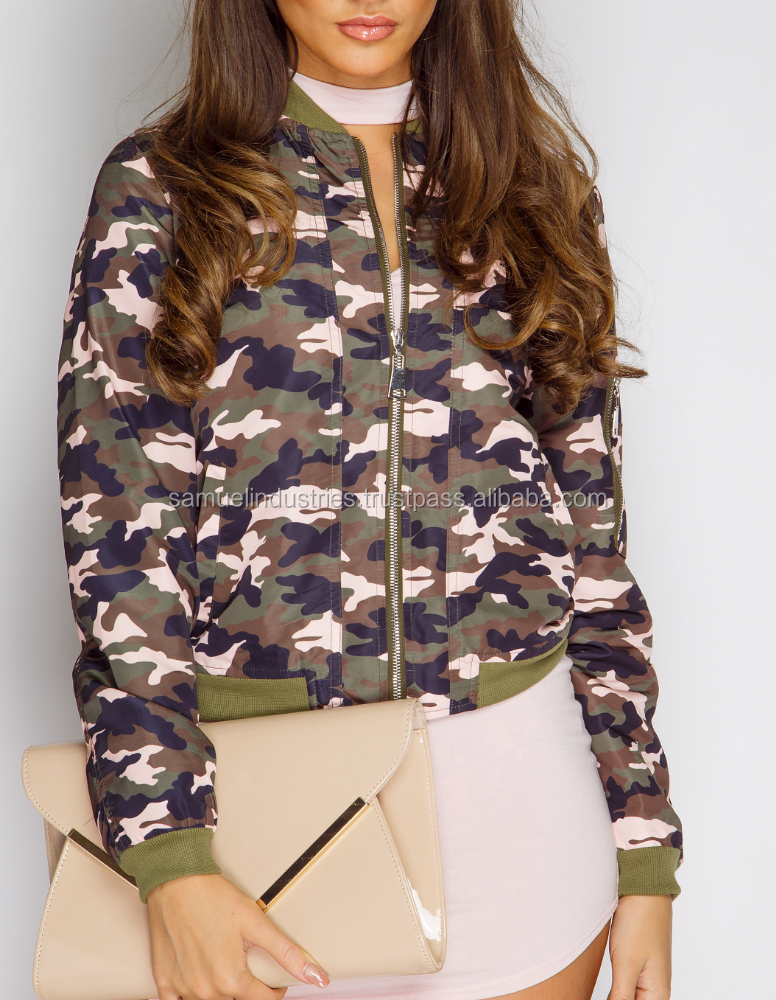 Military Bomber jackets\Camo pattern sublimation women bomber jacket\Water-resistant taslan bomber jacket with elasticized waist