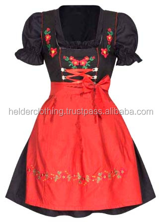 1pc Black and orange embroidery Dirndl Custom Design Trachten Oktoberfest Bavarian Traditional Dirndl Dress For Women