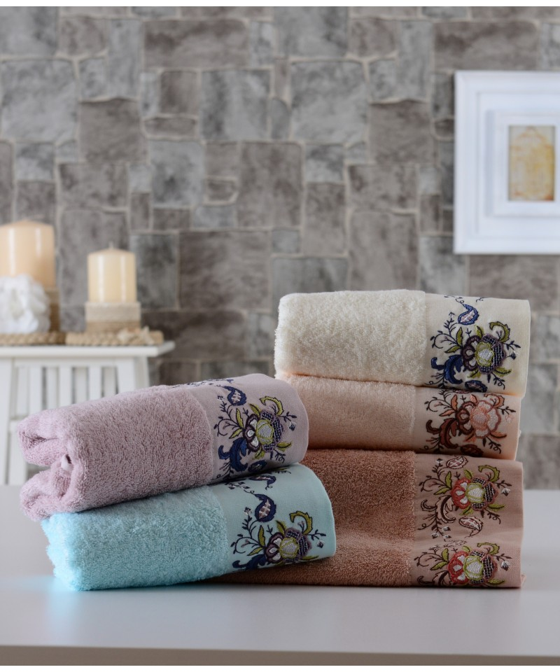 Floral Pattern Embroidered %100 Pure Cotton Towel Made In Turkey Face Resistant 30x50 cm 50x90 cm 70x140 cm