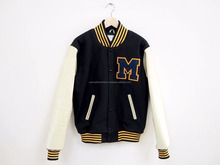 Navy Blue Tan Varsity College Jacket\High Quality Plain Men's Wool Varsity Jacket With black wool body white Pu Leather Sleeves