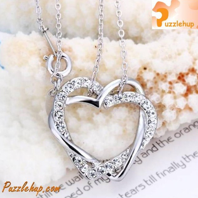 Elegant White Gold Heart-Shape Necklace Jewellery Gift (Very popular!)