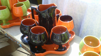 Ceramic Pitcher and Wine Set - Handmade - Pitcher with Goblets/drinking Cup - Black/orange Green/orange - 8 Pieces