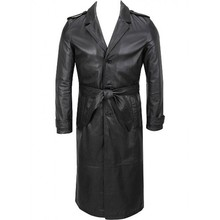 Top Quality Men leather Trench coat