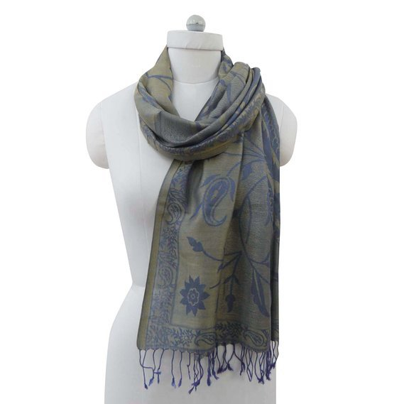 Long Stole Poly Wool Reversible Floral Design Neck Wrap Women Wear Shawl BSH1053