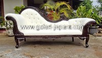 French Chaise Lounge Sofa Dark Mahogany - Indonesia Furniture
