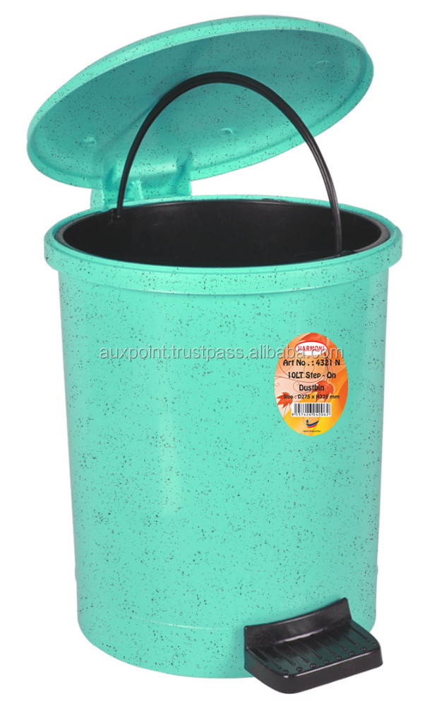 Plastic Step On Dustbin - 4321N Marble Green