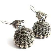 Peacock Design Oxidized Plain Silver Engraved 925 Sterling Silver Earring, Fashion Silver Jewelry, Silver Jewellery