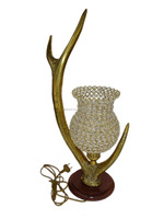 Crystal Bead Hurricane Lamp , Crystal Hurricane with Chimney Table Lamp , Home Decor Crystal Lamp Horn Design