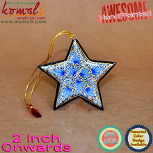 Hot Sale Roya Blue Flat Hand Painted Wooden Star - christmas decoration sale christmas flat ornaments christmas decor