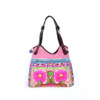 Sublime Tote With A White Flower Embroidered Pattern, Pink Batik Material
