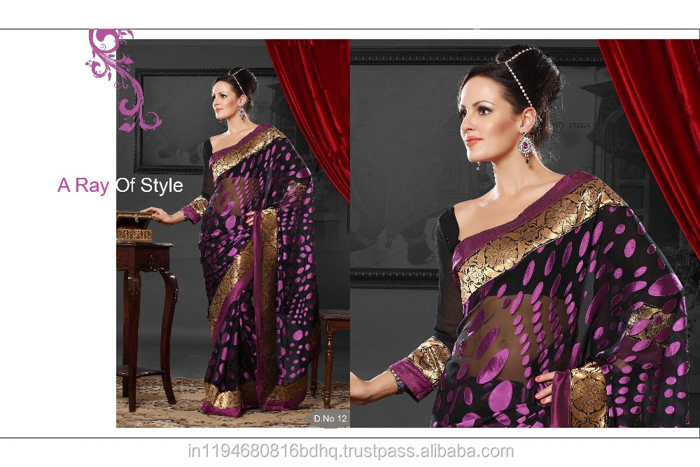 Women's Wear Torre Brasso With Banarsi Lace And Blouse With Pure Georgette Casual Wear Printed Work Designer Saree Sari