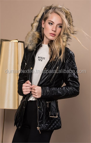 High Turk Quality Fabric Material Jacket Fashion Moda Furry Leather Hooded Black Coat Jacket Outwear Sexy Wholesale Worldwide