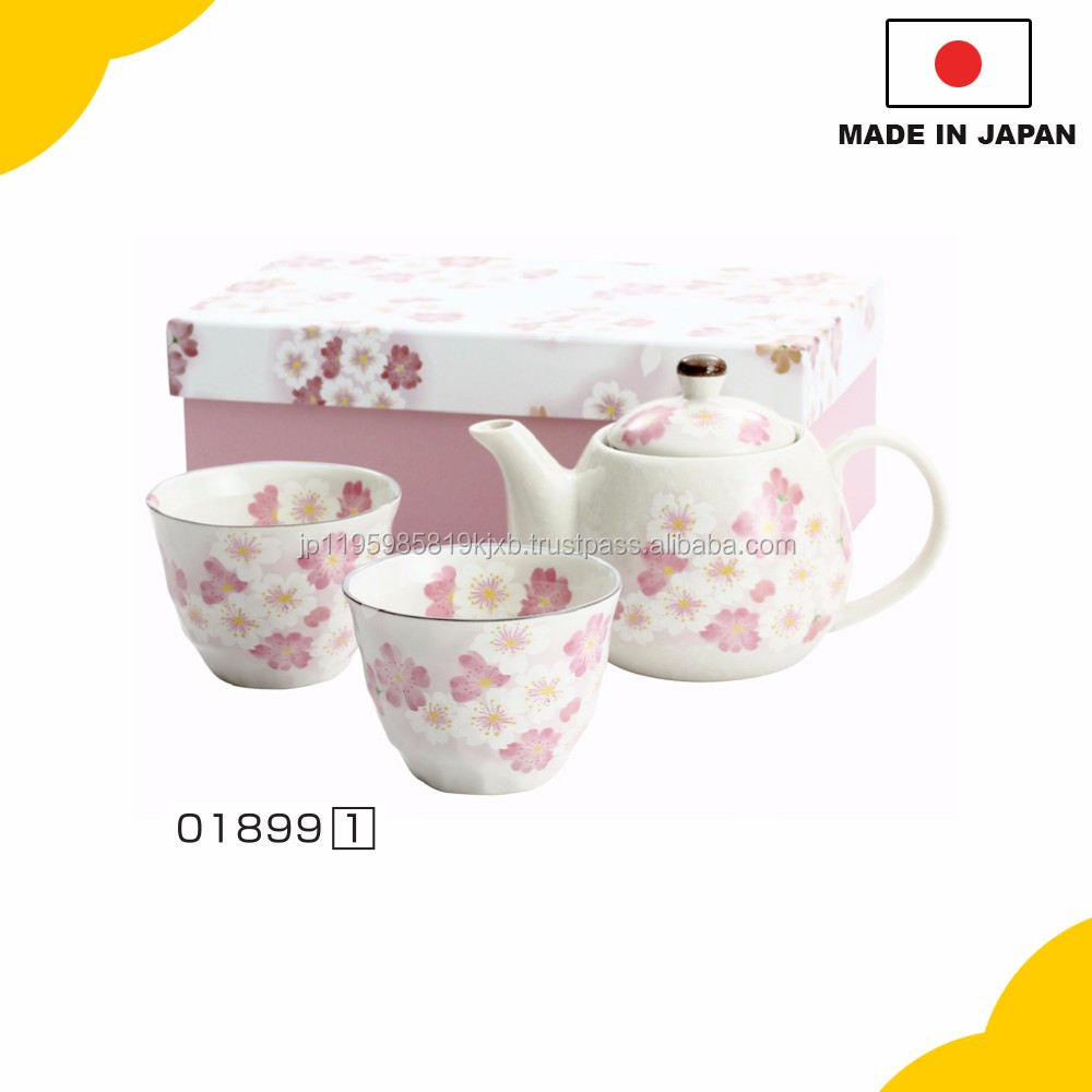 "Beautiful and best-selling ceramic rice bowl, Teapot and cups set ""Hanatemari"" with cherry blossoms prints made in Japan"