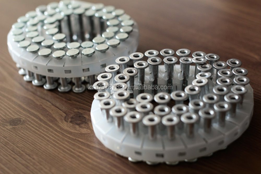 Plastic sheet Collated Concrete Coil Nails used for High Pressure Nailing Systems, MAX HN120 Nailer