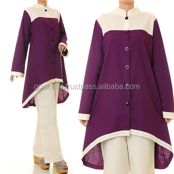 Plus Size exporting level high purchase Purple Long Sleeves Cotton Hi-Low Tunic Blouse + Pants Set.