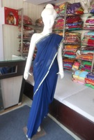 Indian Designer Blue Plain Pure Binny Chiffon Saree with zari paiping Border sari
