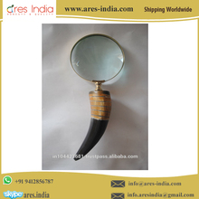 "Best Selling 9"" Real Buffalo Horn Brass 5x Magnifying Glass"