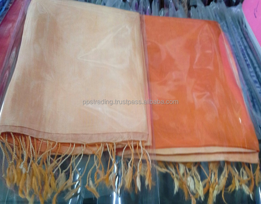 Two tone and row color silk scarves