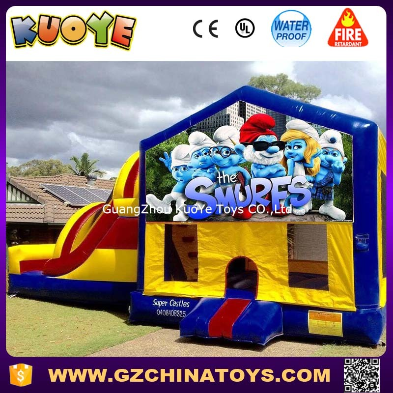 smurfs banner castle kids toy inflatable bounce house smurfs jumper