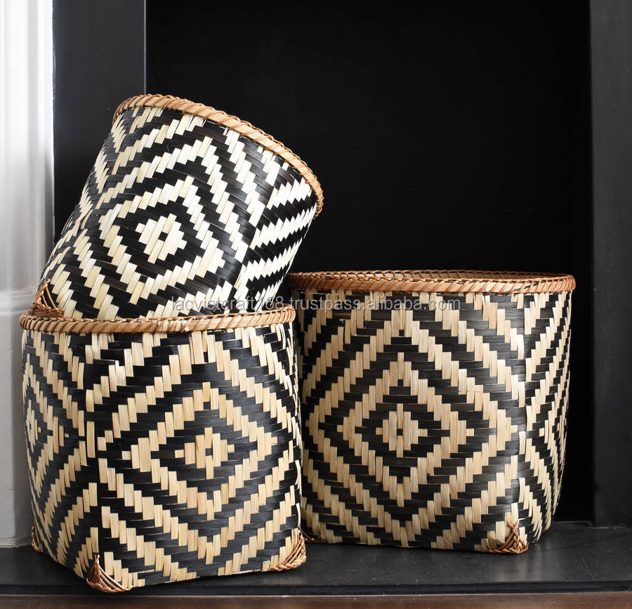 High quality best selling eco-friendly Set of black and white geometric Square Bamboo basket from Vietnam