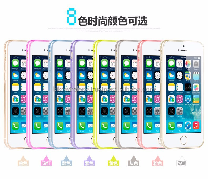 Mix colors Slim Thin Soft Crystal Clear Hybrid TPU + PC Gel Protective Case Cover for iphone 6