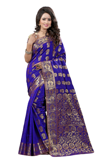 H D Fashion The SELF DESIGN JACQUARD SILK BLUE COLOUR SAREE FOR WOMEN WITH BLOUSE PIECE