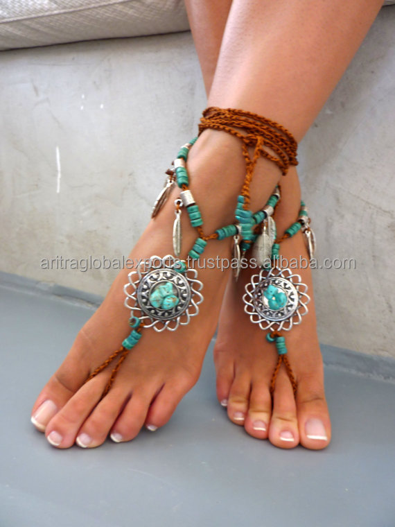 Barefoot Sandals Barefoot Beach Jewelry gemstones Hippie Sandals Foot Jewelry Toe Thong festival accessories for feet, yoga toe,