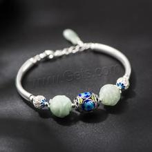 Sterling Silver Cloisonne Bracelet with Hetian jade jadeite with 3cm extender chain 925 sterling silver jewelry