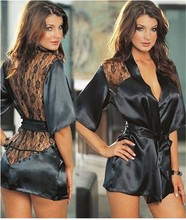 Hot Sexy Lingerie Satin Lace Black Kimono Intimate Sleepwear Robe Sexy Night Gown sex products 5 Color S M L XL XXL
