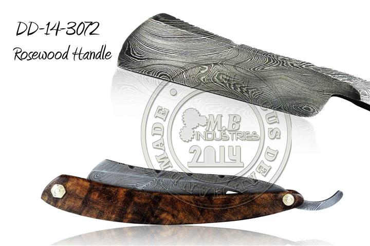Damascus Steel Straight Razor Buffalo Horn Handle DD-14-3055