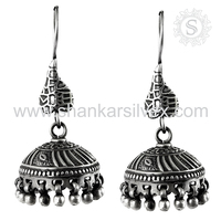 Fantastic Indian Earring Jhumka 925 Sterling Silver Jewelry Oxidized Earring Exporter Silver Jewelry Jaipur