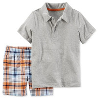 100% Ctn, Children Boys Set, PK Polo with Self Fabrics Collar and Short Pant with Stripe Woven Fabrics