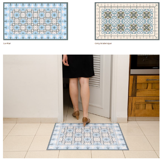 PVC Vinyl Rug - 60x80cm La-Mar Rug Carpet PVC Vinyl Floor Kitchen/Living Room Decoration