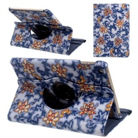 Floral Rotary Stand Smart Leather Folio Case for iPad mini 4 - Blue