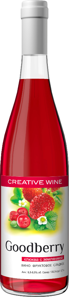 Goodberry Cranberry & Wild strawberry, sweet fruit wine based on fresh juice from Russian 100 years old winery