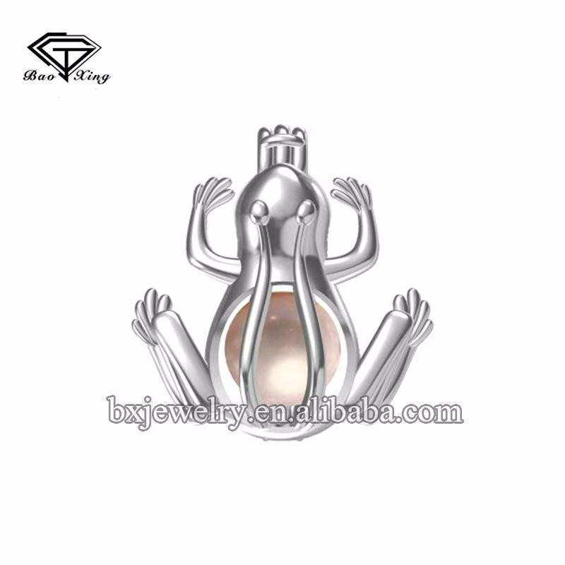 2017 trending products custom design stylish 925 silver frog cage pendant